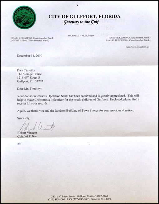 Robert Vincent, Chief of Police, City of Gulfport - Appreciation Letter